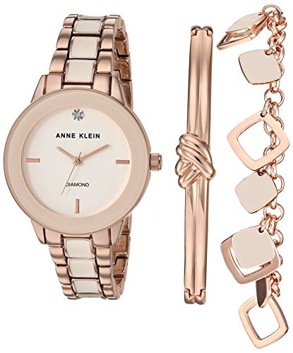 Anne Klein Women's Genuine Diamond Dial Rose Gold-Tone and Blush Pink Watch with Bracelet Set, AK/3348BHST