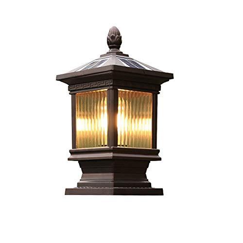 Luces de casquillo de poste Lámpara de pilar solar IP65 Impermeable Luces de poste de aire abierto al aire libre Antigua linterna Post Cap Lámpara antigua de la valla del césped