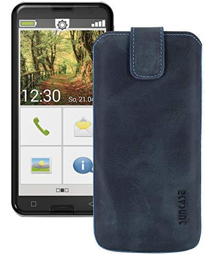 Suncase ECHT Ledertasche Leder Etui Tasche kompatibel mit Emporia Smart 3 Mini Hülle (mit Rückzugsfunktion & Magnetverschluss) Pebble-Blue