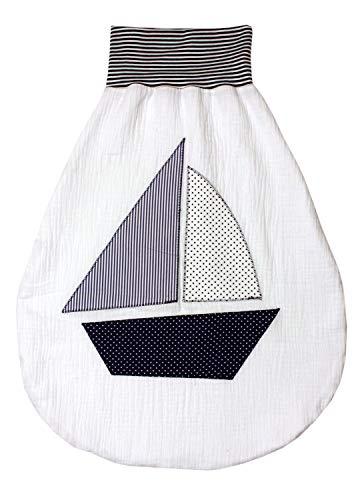 Strampelsack Schlafsack Pucksack Baby Mädchen Junge Frühling/Sommer Segelboot Größe 4-6 Monate 45x61 cm