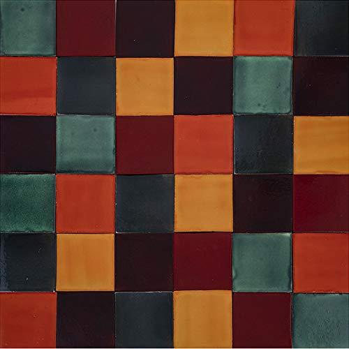 Cerames Borgońa - Patchwork de azulejos monocromáticos - 90 unidades, 1 m2| Azulejos de cerámica mexicanos para cocina y baño