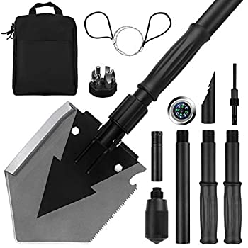 Yeacool Camping Shovel Military 38   Tactical Heavyduty Folding Spade Compact Survival Shovel Multitool for Off-Roading Entrenching Emergency Outdoor