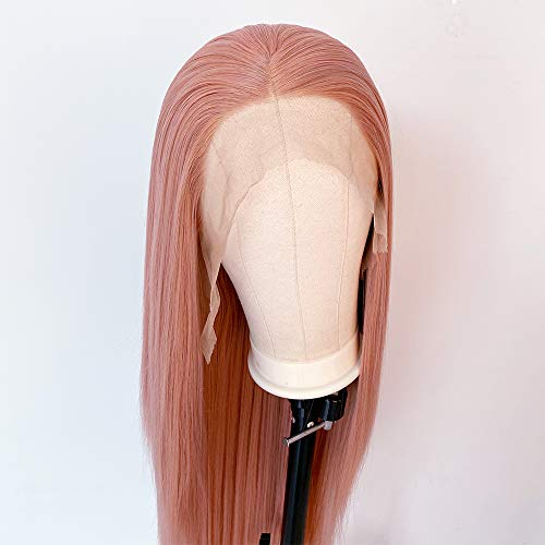 Pink Wig Synthetic Lace Front Wigs for Women Long Straight Peach Pink...
