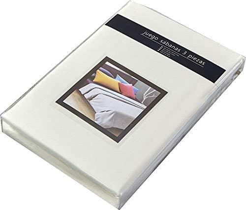 TIENDA EURASIA® Juego 3 Sábanas de Cama 90cm - Microfibra Transpirable - Tacto Suave (Cama 90-90x190/200cm, Beige)
