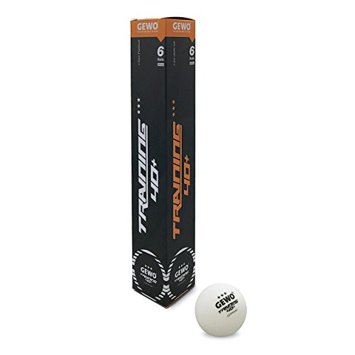 Pelotas de Tenis de Mesa GEWO Unisex, 3 Estrellas en un práctico Paquete de 6 Unidades, Color Blanco, 40