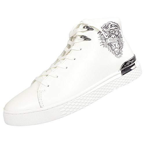 Ed Hardy Zapatillas Beast Hi Top Bordado para hombre, color negro, color Blanco, talla 40 2/3 EU