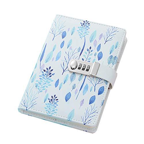 A5 Cuaderno de Cuero PU Diario Planificado Organizador cuaderno diario registro diario con candado ,Cuaderno Diario de Cuero PU Vintage con Cerradura de Combinación, TPN112 ,Grass and Trees