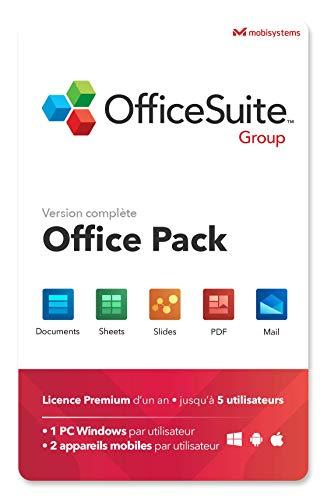 OfficeSuite Group - Word®, Excel®, PowerPoint® et avec PDF pour PC Windows 10, 8.1, 8, 7 – 5 utilisateurs / 1 an d'abonnement