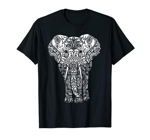 Mandala elefante hastin gaja patrón yoga Camiseta