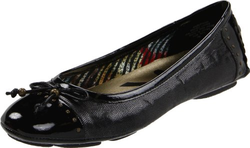 Anne Klein Sport Women's Buttons Fabric Ballet Flat, Black, 8 M US