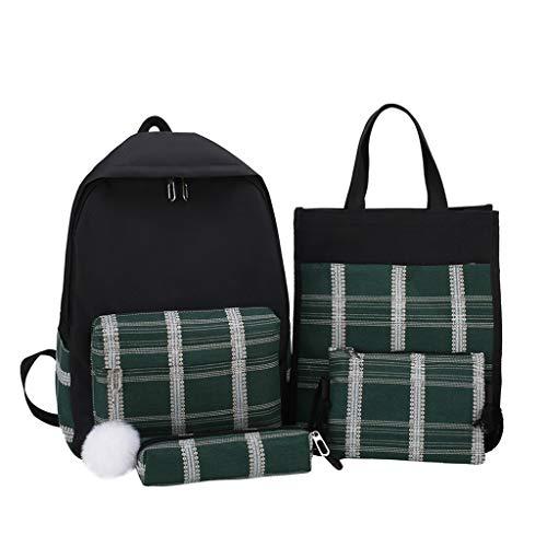 DOLDOA 4pcs Frauen Plaid Canvas Handtasche Umhängetasche Kosmetiktasche Federmäppchen Paket (F)