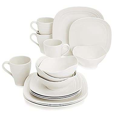Swirl Square White Dinnerware Set, 16-Piece, Service for 4