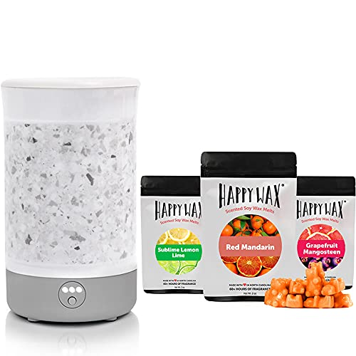 Happy Wax - Wax Warmer & Wax Melts Gift Kit - Scented Wax Melts Made with All Natural Soy Wax and Infused Essential Oils. Perfect Wax Warmer Wax Melt Gift Set (Citrus Mix, WhiteTerrazzo Warmer)