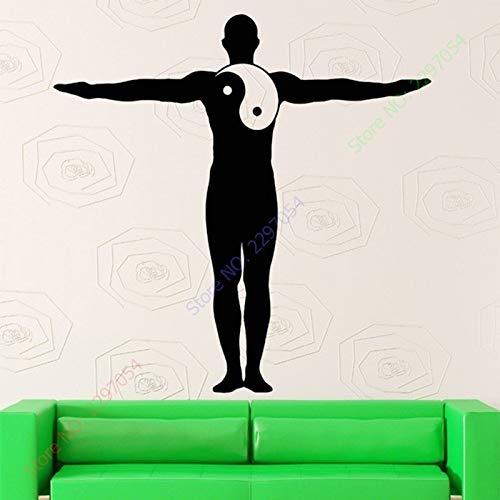 zzlfn3lv Nouvelle Arrivée Yoga Sticker Vinyle Yin Yang Yoga Méditation Symbole Zen Homme Murale Art Sticker Mural Fenêtre en Verre Magasin Décoration 55 * 88CM