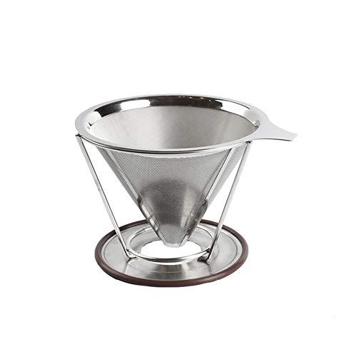 LVJUNQ Filtro de café portátil de Acero Inoxidable Reutilizable con Panal con Soporte para Tazas, Tiene Funciones de filtrado Doble, Ideal para mochileros, Viajes, Acampar y Trabajar