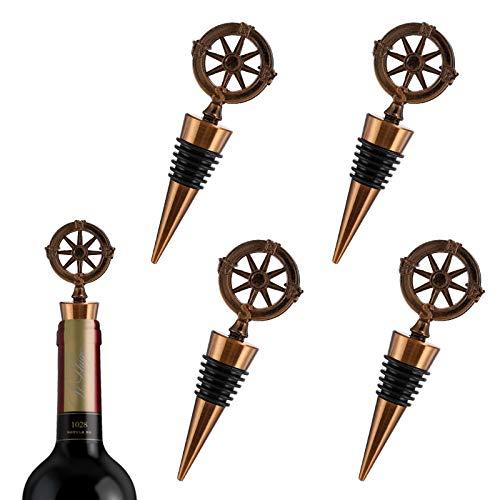 LxwSin Tapón para Botella de Vino, Tapón de Vino Metal, 4 Piezas Tapón de Botella de Vino Diseño Vintage, Tapón Botella Brújula Único para Sellar Vino, Champán, Bebida, Soda, Cerveza, Reutilizable