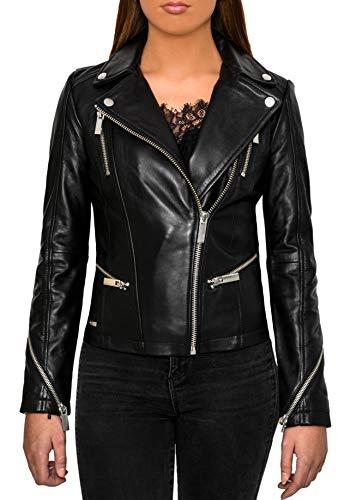 Crone Theya dames biker leren jack hoogwaardige echt lederen jas met vele ritsen