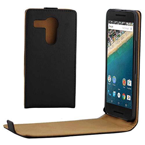 ZAORUN Cubiertas Protectoras de Cellphone Estuche de Cuero de PU con Hebilla magnética de Tapa Vertical de Forro de Color Caqui Compatible for Google Nexus 5X (Color : Black)