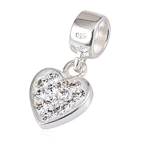 Andante-Stones 925 Sterling Silber Dangle Bead Charm Herz mit funkelnden AB Kristallsteinen - Element Kugel für European Beads Modul Armband + Organzasäckchen
