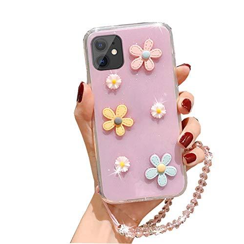3D Cute Blumen Crystal Glitter Handyhülle Kompatibel mit Apple iPhone XR Hülle Transparent Weiche Stoßfest TPU Silikon Cover Case mit Kristallkette für Frauen(Pulver)