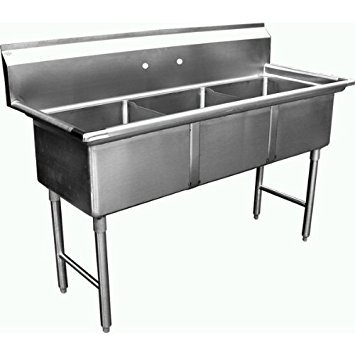 """Allstrong ALLST-SE18183N 3 Compartment Sink, 18"""" x 18"""" x 12"""", Stainless Steel Silver"""