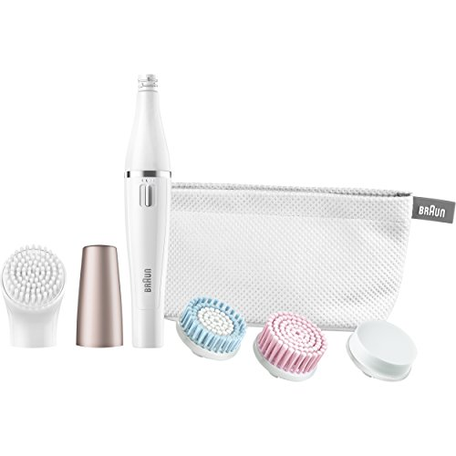 Braun Face 851 Women's Miniature Epilator, Electric Hair Removal, with 4 Facial Cleansing Brushes...