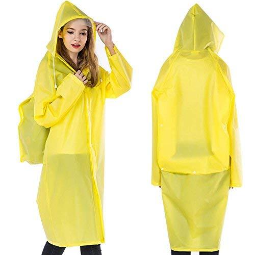 ASOSMOS Herren Damen Regenmanel mit Kapuze Eva Wasserfest Lang Regenkleidung Poncho Regen Mantel mit Schultasche Position - Gelb, L