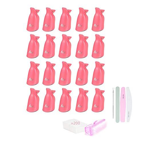 Locisne Nagellak Gel Remover Wrap Kit met 20 Nagelklemmen 200 Nageldoekjes Wattenschijfjes 1 Nagelriemschuiver 1 Nagelborstel 3 Dubbelzijdige nagelvijl