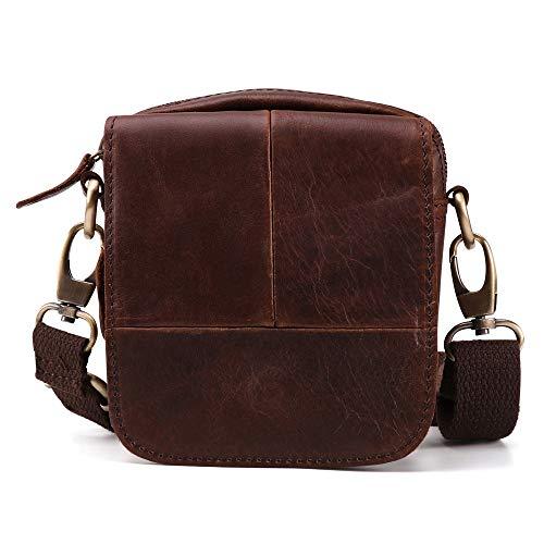 Los Bolsillos de los Hombres Retro de Cuero en el Exterior Bolso del Ocio de la Correa 5 Pulgadas Nómada Bolsa de teléfono Bolso Messenger Mochila (Color : Brown)