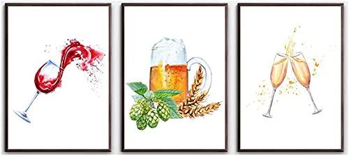 SHSYFBH Impresiones artísticas Arte Pintura de Acuarela Vino Trigo Pinos Cono Copa de Vino Cerveza Arte de la Pared Cuadros de Pared nórdicos Decoración para el Comedor 3 Piezas 20x30cm sin Ma