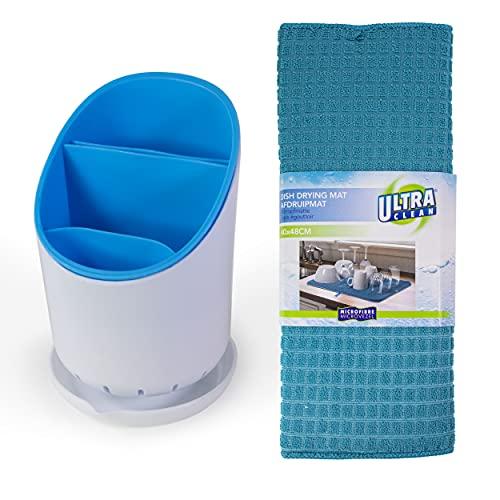 Escurridor cubiertos azul ideal para organizar tu fregadero y cocina. Escurre cubiertos de plastico escurrecubiertos con estera antideslizante azul.