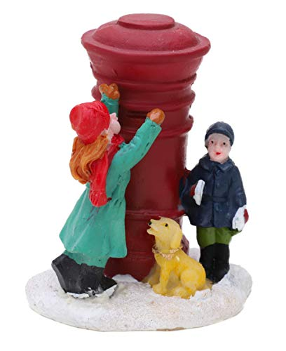 Toyland® Mini décoration de Noël en résine – Accessoires de scène de Village – Figurines de Noël (Enfants avec boîte aux Lettres)