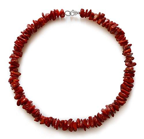 Vifaleno Collana di Corallo, Corallo Naturale, Corallo Naturale, schegge, Rosso, 10x7mm-15x8x4mm