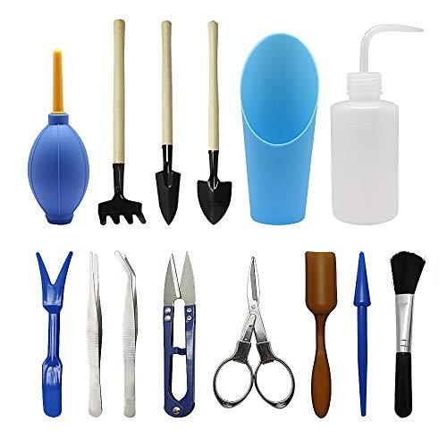 Gartenwerkzeug Set, Homagty Mini-Garten-Pflanzwerkzeug-Set, Sukkulenten Werkzeuge für Sukkulenten, Minigärten im Innenbereich, 14 teiliges