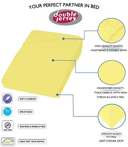 #11 Double Jersey Jersey Spannbettlaken, Spannbetttuch, Bettlaken, 160x200x30 cm, Gelb - 7