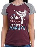 Hariz - Camiseta de béisbol para mujer, con tarjeta de regalo Burgundy / Grey Melange S