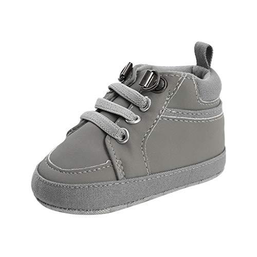 YWLINK Botitas De Bebe Zapatos Casuales con Cordones Zapatos para NiñOs PequeñOs Antideslizante Comodo Zapatillas De Deporte Zapatos De AlgodóN OtoñO E Invierno (Gris,11EU)