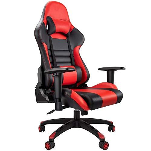 Silla de piel sintética para videojuegos, para casa, para Internet, café, carreras, silla mecedora reclinable con cuero WCG para muebles de oficina – 58894W6G9R (color: negro y rojo)