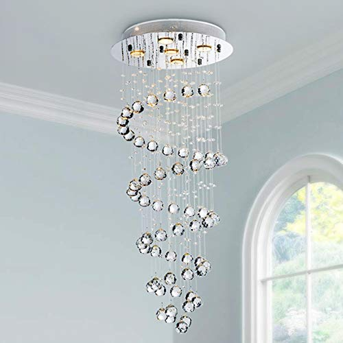Saint Mossi 5-Lights Modern Chandelier in Raindrop Chandelier Style,Modern Flush Mount Ceiling Light Fixture K9 Crystal Chandelier for Bedroom,Dining Room,Living Room,,H12' X D14'