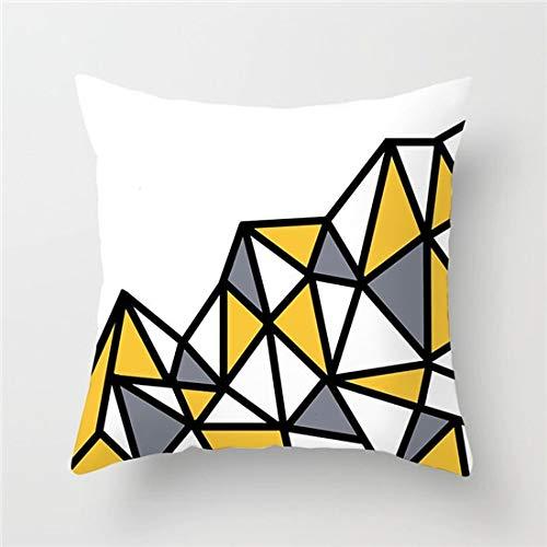 MKHB Funda de cojín de Onda de Diamante Amarillo Funda de Almohada geométrica Funda de Almohada Cuadrada Silla para el hogar Sofá Decoración 45x45cm Juego de 4 Piezas