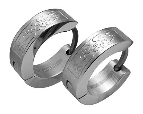 Kikuchi ERTS003 - Pendientes de titanio para hombre, acero inoxidable, diseño de dragón, color plateado mate