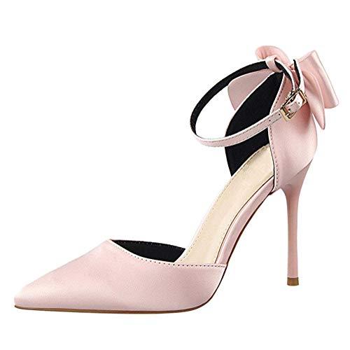 Minetom Damen Elegant Schuhen Mit Hohen Absätzen Schuhe Hochzeit Abend Parteischuhe Sommerschuhe Mit Bowknot Pink 36 EU