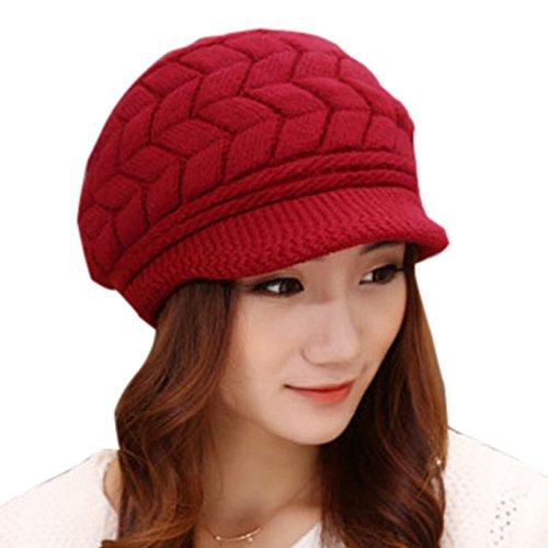 Elonglin gorro feminino de inverno tricotado canelado, gorro despojado, gorro de esqui forrado, Wine Red, tamanho �nico