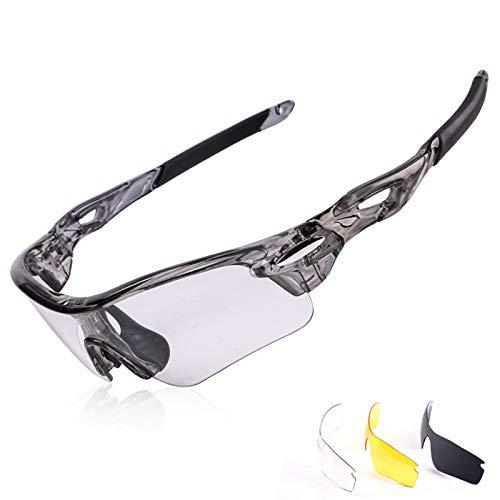Gafas de sol polarizadas para hombre y mujer, con 3 lentes intercambiables, gafas de béisbol para correr, conducir, pesca, golf, béisbol, color blanco