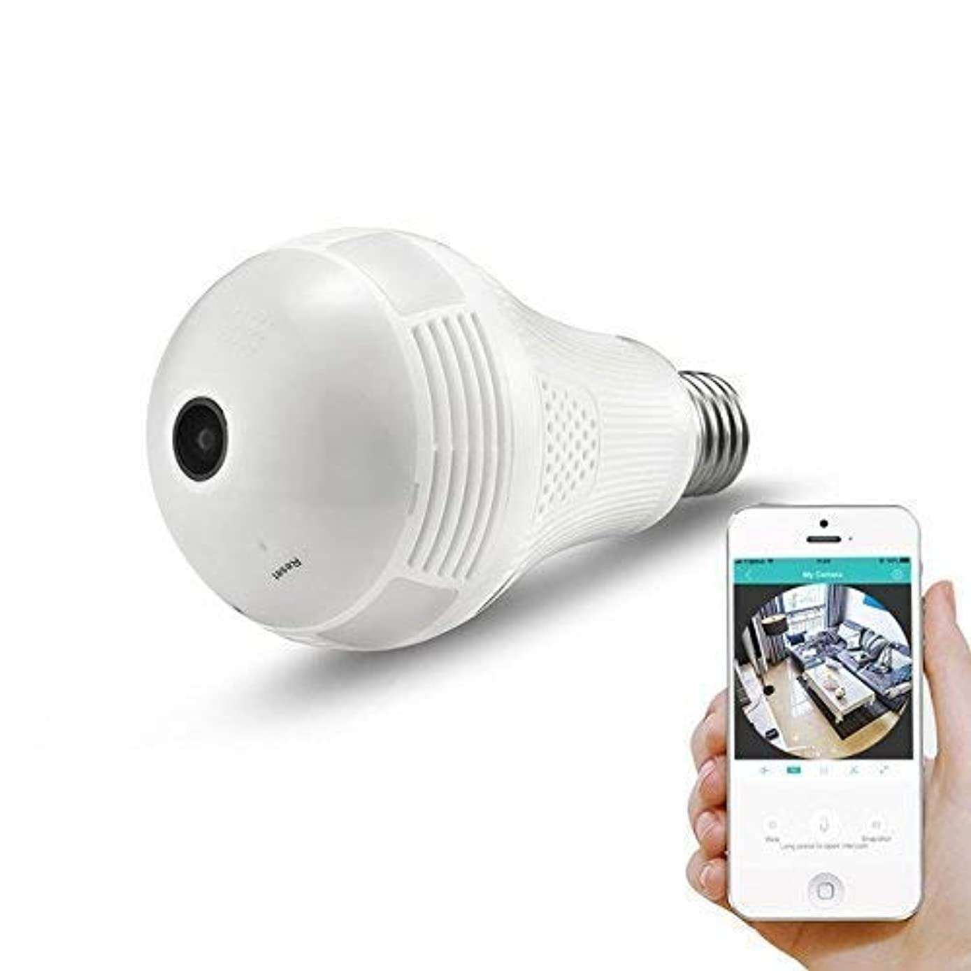 360° Panoramic View WiFi IP Bulb Camera with FishEye Lens 360 Degree 3D VR Panoramic View Home Security CCTV Camera Wirelss Security Camera (960P)