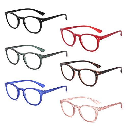 BOSAIL 6 Pack Reading Glasses Blue Light Blocking, Vintage Matte Round...