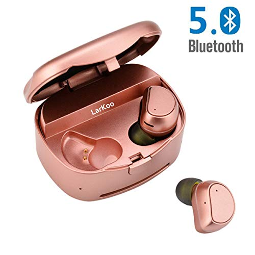 LarKoo Wireless Double Twins in-Ear Bluetooth 5.0 Earbuds Headphones with Charging Box Noise Mic Cancelling Sweatproof Earphones Headset for iOS, Android Phones (Rose Pink)
