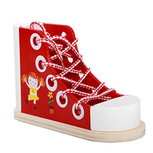 Multifunctionele kinderen Kids Vroeg leren Educatief klompen spel Schoenen Lace Tying Toys Telefoonhouder