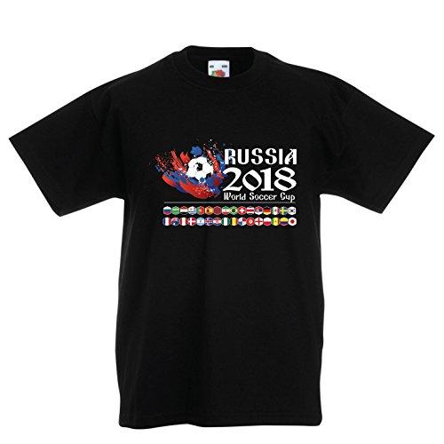 lepni.me Maglietta per Bambini/Ragazzi Russia Coppa del Mondo di Calcio 2018, Tutte Le 32 Squadre Nazionali di Calcio (12-13 Years Nero Multicolore)