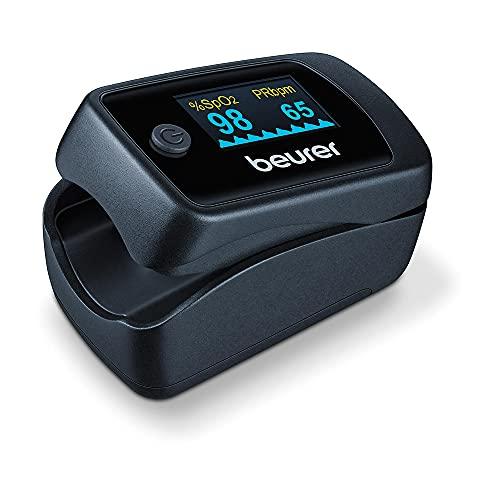 Beurer PO 45 Pulsossimetro per il Monitoraggio della Saturazione di Ossigeno nel Sangue, del Battito Cardiaco e Indice di Perfusione
